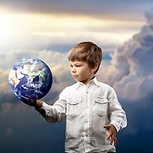 Boy Holding Earth