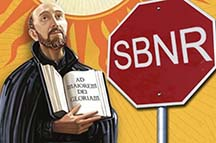 Monk Next to SNBR Sign
