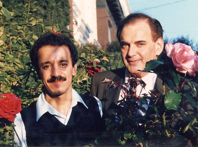 Rev. Tony Ponticello and Rev. Larry Bedini in the Roses in Front of the Bedini Mansion
